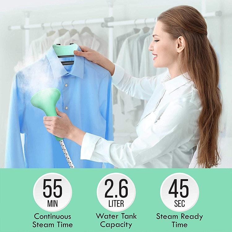 PurSteam PS950 Full Size Garment Fabric Steamer girl steaming-min
